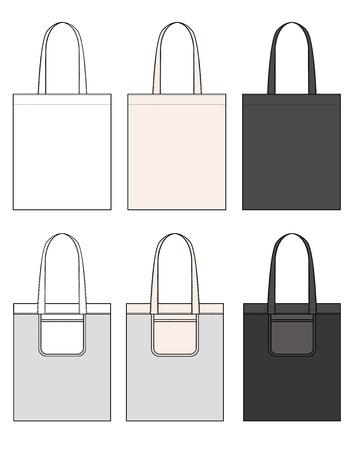 ECO BAG vector illustration flat sketches template