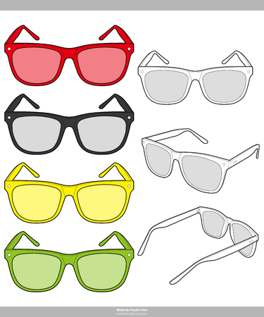Sunglasses Fashion technical drawings vector template
