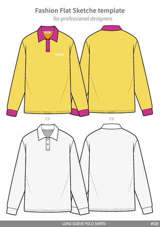Long sleeve polo shirts fashion flat technical drawing template 向量圖像