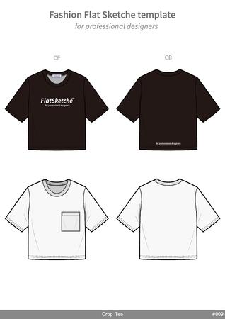 Croptop Teeshirt fashion flat technical drawing template