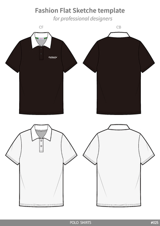 POLO SHIRTS fashion flat technical drawing template 向量圖像
