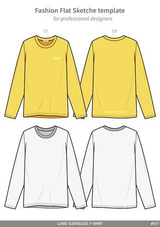 LONG SLEEVE T-SHIRTS fashion flat technical drawing template Illustration