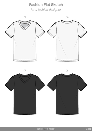 V-neck Tee shirt Fashion flat technical drawing vector template