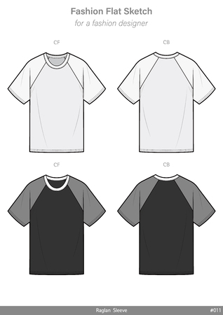 Raglan sleeve Tee shirt OVERFIT fashion flat technical drawing template Illustration