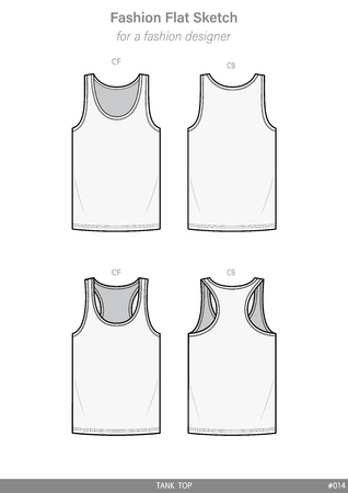 Sleeveless TANK TOP fashion flat technical drawing template