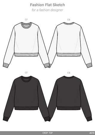 CROP TOP Tee fashion flat technical drawing template