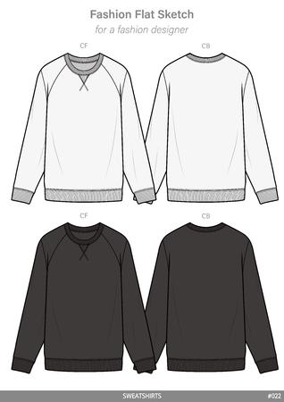 SWEATSHIRTS fashion flat technical drawing template Ilustración de vector