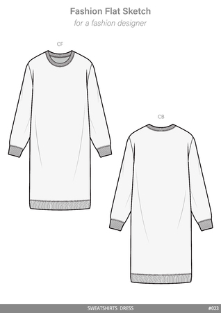 SWEATSHIRTS DRESS fashion flat technical drawing template Vectores