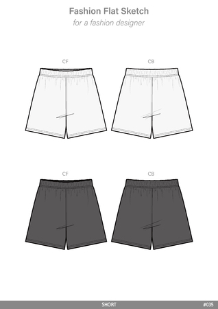 PANTS SHORT Fashion flat technical drawing vector template 일러스트