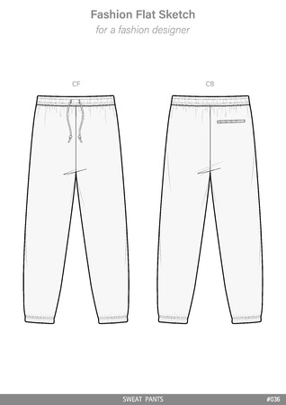 SWEAT PANTS Fashion flat technical drawing vector template Çizim