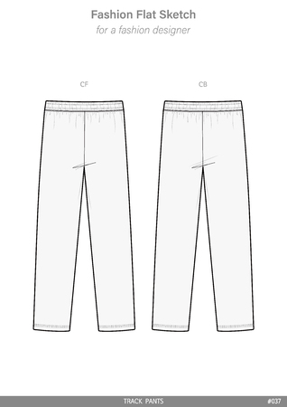 TRACK PANTS Fashion flat technical drawing vector template