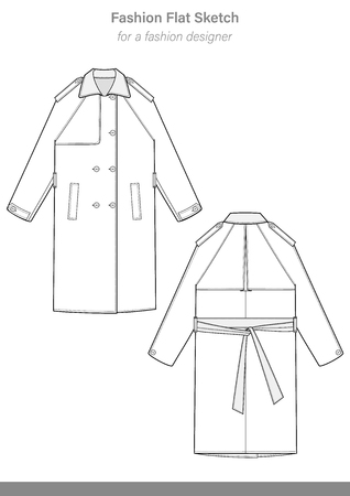 Trench coat fashion flat technical drawing template Illustration