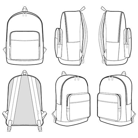 Flache technische Zeichnungsvorlage für Rucksackmode