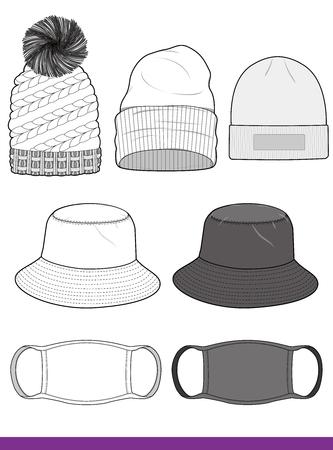 Hat set fashion flat sketch template