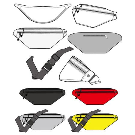 Waist bag fashion flat technical drawing template Vector Illustration