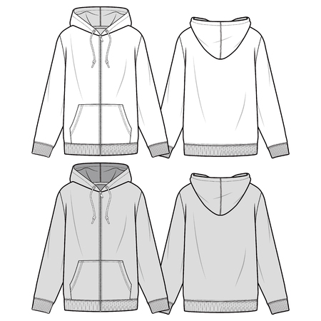Zip hoodie fashion flat sketch template