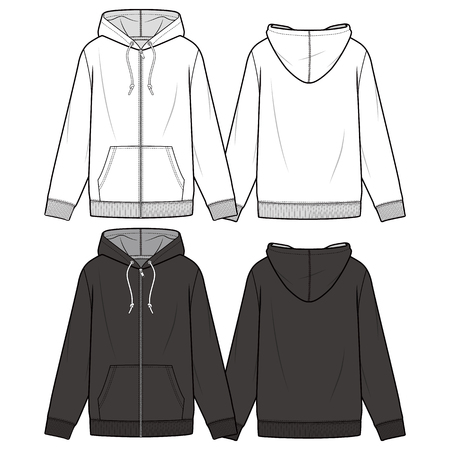 ZIP-UP HOODIE fashion flat sketch template  イラスト・ベクター素材