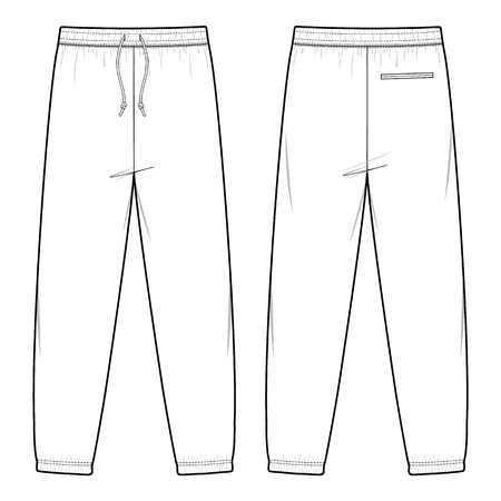 TRACK PANTS fashion flat sketch template