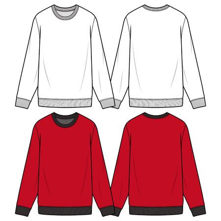 SWEATSHIRTS fashion flat sketch template Ilustración de vector