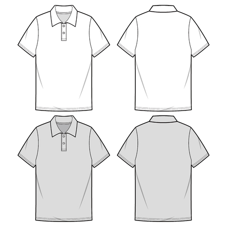 POLO SHIRTS fashion flat sketch template