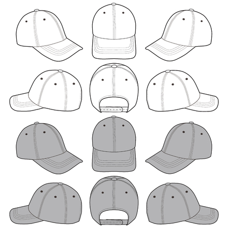 Baseball Cap fashion flat sketch template 向量圖像