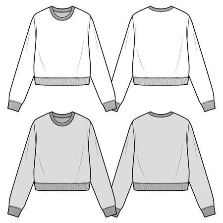 CROPPED SWEATSHIRTS fashion flat sketch template Ilustración de vector