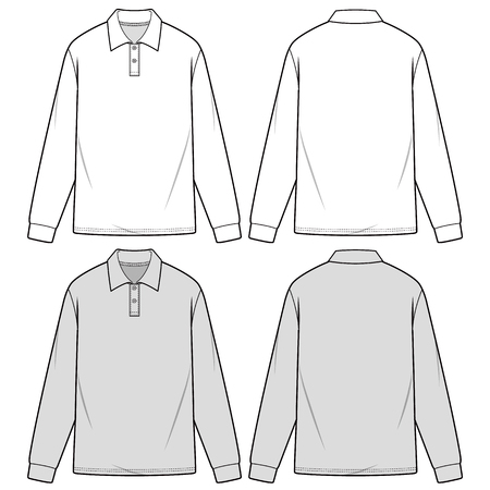 LONG SLEEVE POLO SHIRTS fashion flat sketch template