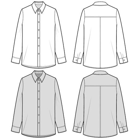 LONG SLEEVE SHIRTS fashion flat sketch template