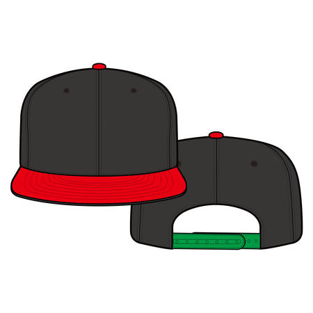 Snapback Cap fashion flat sketch template