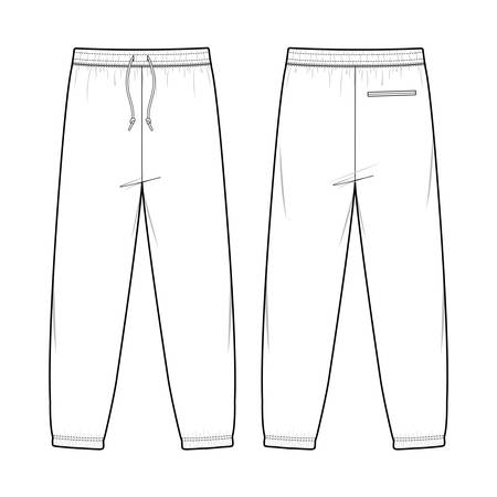 Pants fashion illustration schematic drawing