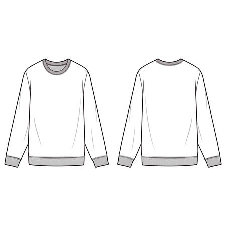 Sweatshirt fashion illustration schematic drawing