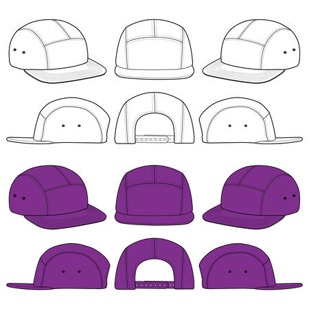 Camp Cap Hat Fashion Illustration Schematic