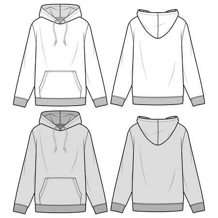 Hoodie fashion illustration schematic drawing