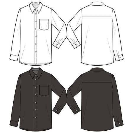 Long-sleeved shirt fashion illustration schematic drawing