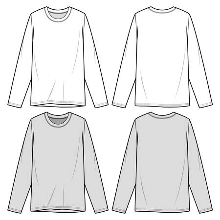 Long sleeve t-shirt fashion design illustration schematic drawing