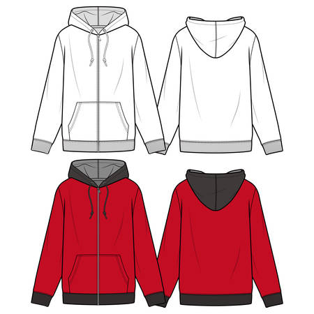 Hooded zip-up fashion illustration schematic drawing