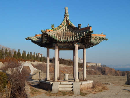 arbour: Old Chinese arbour on seacoast Stock Photo