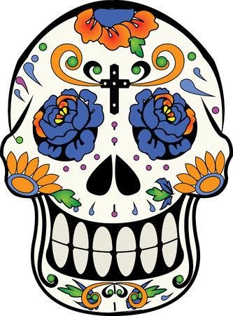 and tradition: Calverita de Azucar, Mexican tradition of Day of the Dead sugar calaverita Illustration