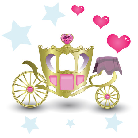 Luxurious carriage princess with pink with a heart diamond and gems Vector