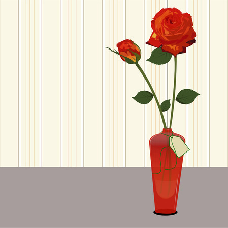Red roses in a red glass vase with a gift card