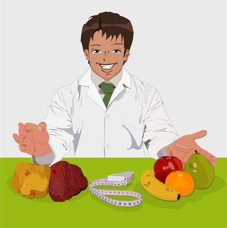 diet cartoon: Nutritionist with a measuring tape, fruit and a muscle and fat replicas