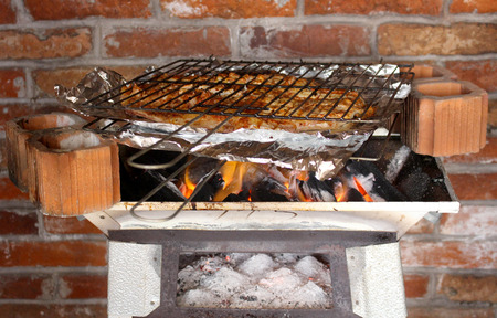 coal fish: Grilled fish coal, typical Mexican seafood, recipe