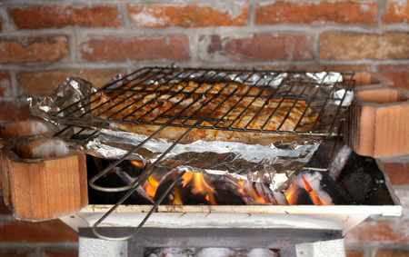 coal fish: Fish cooked in a charcoal brazier, traditional Mexican food is Stock Photo