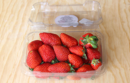 antirheumatic: red and juicy strawberries packed for export, first quality