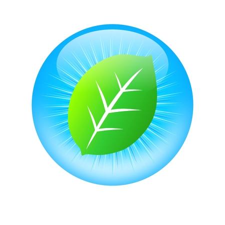 Eco globe, globe with leaf Illustration
