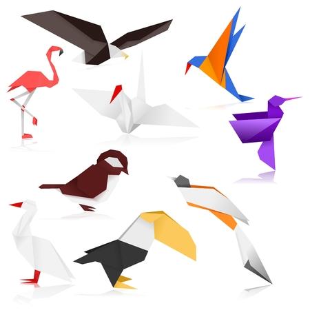 sparrow bird: Bird Origami (Color)