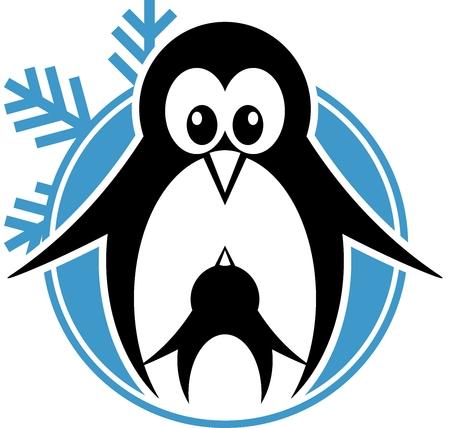 blue eyed: penguin silhouette Illustration