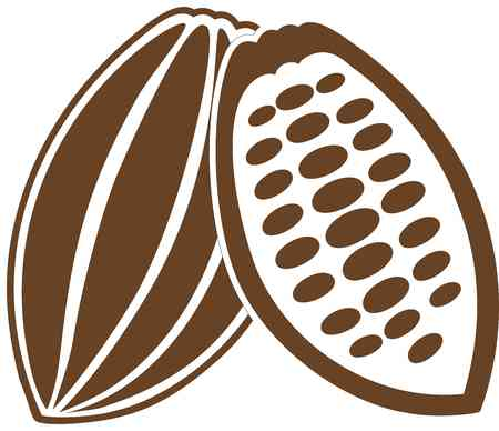 chocolatería: grano de cacao cacao cacao fruta de cacao frijol fruta Vectores