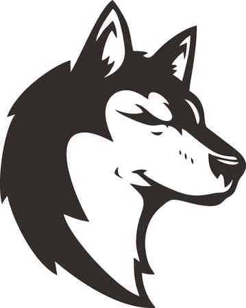 black and white wolf: wolf head silhouette