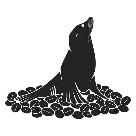 art background: Sea Lion on Coffee Beans